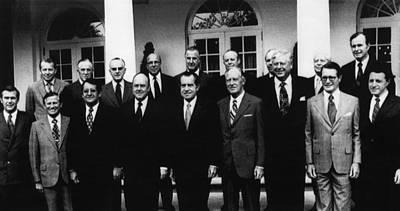 1972 Nixon Cabinet.  From Left, Front Poster by Everett