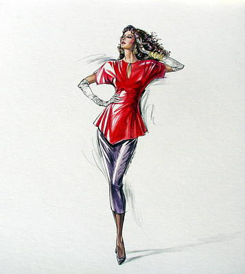 1980's Female Fashion Model In Red Poster