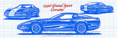 1996 Grand Sport Corvette Blueprint Poster by K Scott Teeters