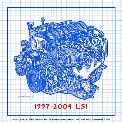 1997 - 2004 Ls1 Corvette Engine Blueprint Poster