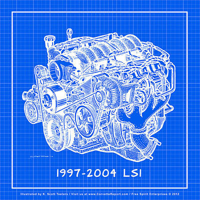 1997 - 2004 Ls1 Corvette Engine Reverse Blueprint Poster