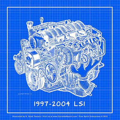 1997 - 2004 Ls1 Corvette Engine Reverse Blueprint Poster by K Scott Teeters