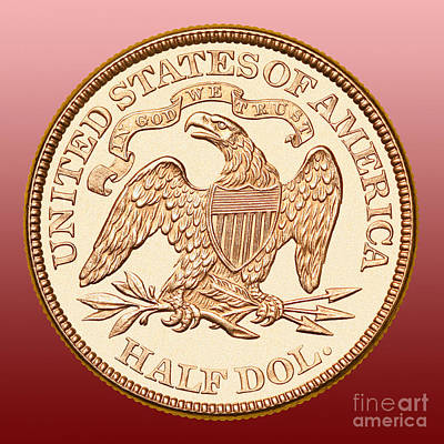 1870 Liberty Seated Half Dollar Poster by Jim Carrell