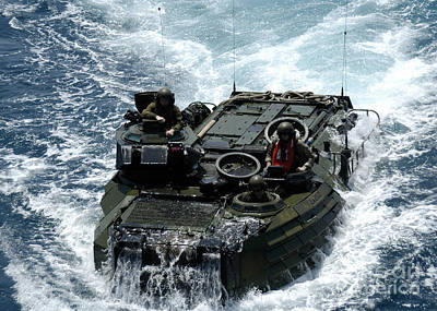 An Amphibious Assault Vehicle Navigates Poster by Stocktrek Images