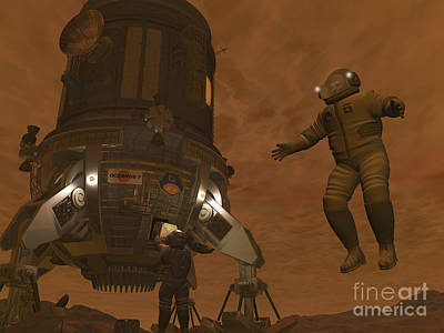 Artists Concept Of Astronauts Exploring Poster by Walter Myers