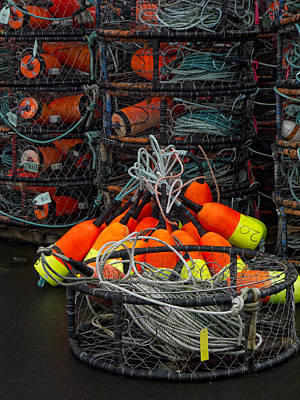 Buoys And Crabpots On The Oregon Coast Poster by Carol Leigh