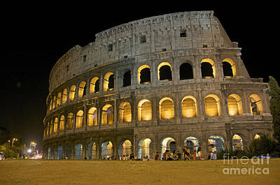 Coliseum Illuminated At Night. Rome Poster