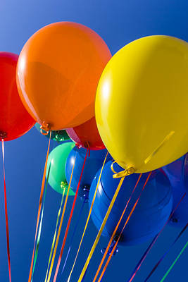 Colorful Balloons Against Blue Sky Poster by Stuart Dee