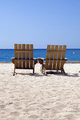 Poster featuring the photograph Cozumel Mexico Beach Chairs And Blue Skies by Shawn O'Brien