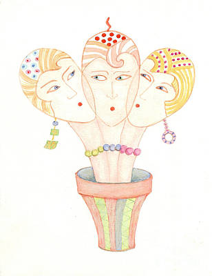 Poster featuring the painting Flower Pot Ladies by Nareeta Martin