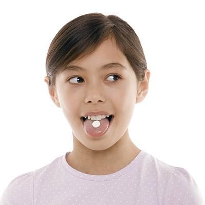 Girl Taking Painkiller Poster by