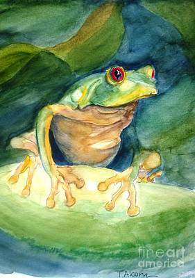 Green Tree Frog Poster by Therese Alcorn