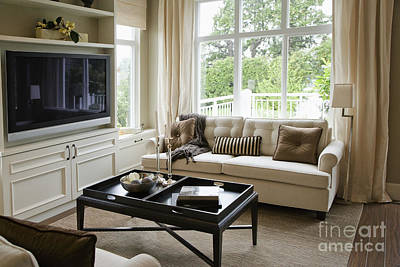 Living Room In An Upscale Home Poster by Shannon Fagan