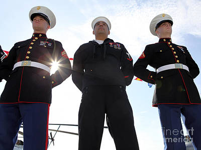 Marines And Sailors Man The Rails Poster by Stocktrek Images
