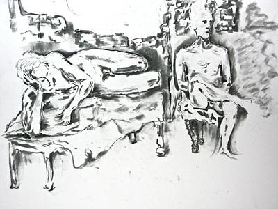 Poster featuring the drawing 2 Men And Broken Wall by Brian Sereda