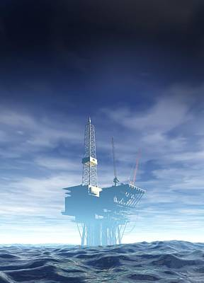 Oil Rig, Artwork Poster by Victor Habbick Visions