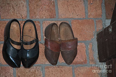 Old Wooden Shoes Poster by Carol Ailles