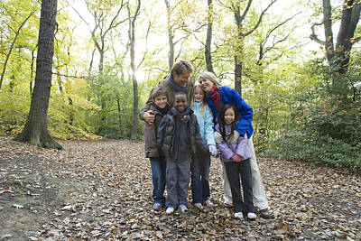 Parents And Children In A Wood Poster
