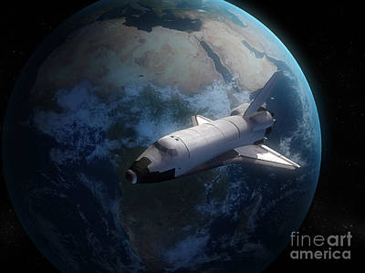 Space Shuttle Backdropped Against Earth Poster