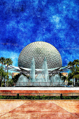 Poster featuring the digital art Spaceship Earth And Fountain Of Nations by Sandy MacGowan