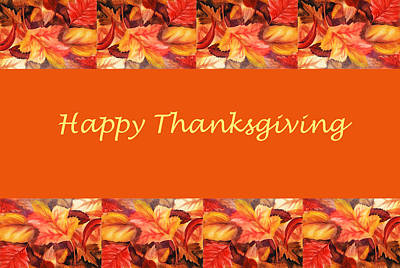 Thanksgiving Card Poster by Irina Sztukowski