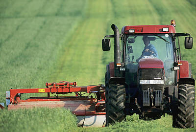 Tractor Cutting Grass For Silage Poster by Jeremy Walker