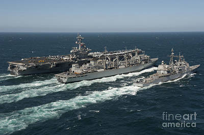Underway Replenishment At Sea With U.s Poster