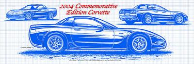 2004 Commemorative Edition Corvette Blueprint Poster by K Scott Teeters