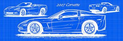 2007 Corvette Blueprint Series Poster