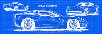 2008 Corvette Reverse Blueprint Poster by K Scott Teeters