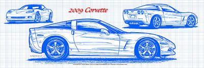2009 C6 Corvette Blueprint Poster by K Scott Teeters