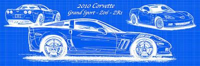 2010 Corvette Grand Sport - Z06 - Zr1 Reverse Blueprint Poster by K Scott Teeters