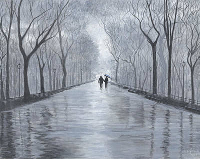 Poster featuring the painting A Walk In The Park In Black And White by Stuart B Yaeger