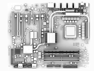 Computer Motherboard, Artwork Poster by Pasieka