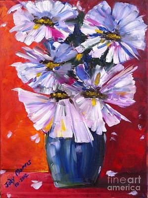 Flowers In Blue Vase  Poster by Judy Morris