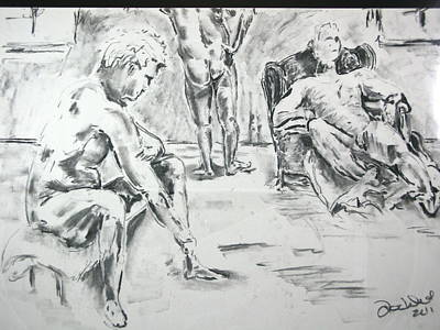 Poster featuring the drawing 3 Men Relaxing by Brian Sereda