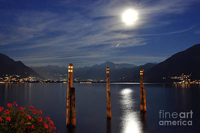 Moon Light Over An Alpine Lake Poster