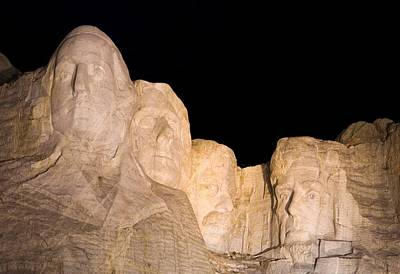 Mount Rushmore At Night Poster by Twenty Two North Photography