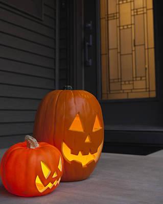 Usa, Illinois, Metamora, Jack O' Lanterns On Porch Poster by Vstock LLC