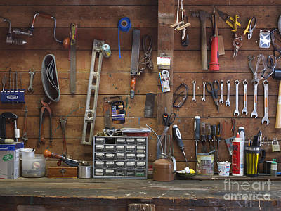 Work Bench And Tools Poster by Adam Crowley
