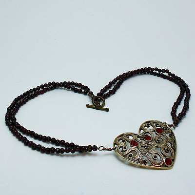 3597 Vintage Heart Brooch Pendant Necklace Poster