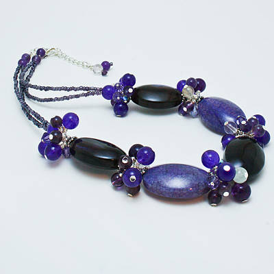 3598 Purple Cracked Agate Necklace Poster