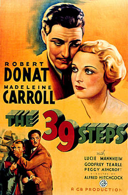 39 Steps, The, Robert Donat, Madeleine Poster by Everett