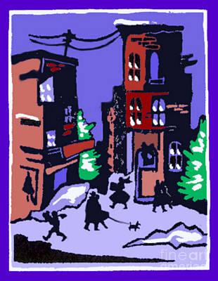 Christmas Street Scene Poster