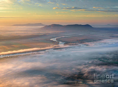 Early Autumn Morning Fog On The Richelieu River Valley Quebec Ca Poster