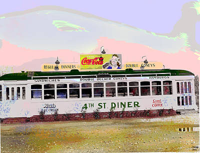 Poster featuring the mixed media 4th Street Diner by Charles Shoup