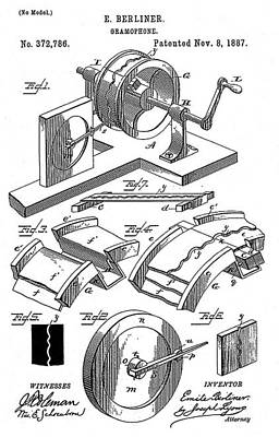 Early Recording Device The Berliner Poster by Everett