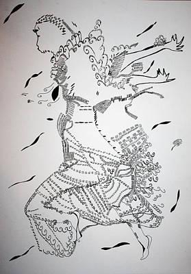 Poster featuring the drawing Kiganda Dance - Uganda by Gloria Ssali