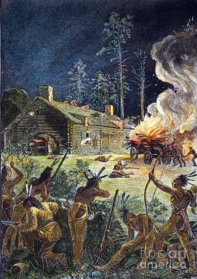 Native American Attack, 1675 Poster by Granger
