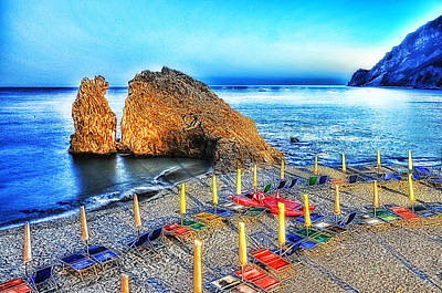 Poster featuring the mixed media 5 Terre Monterosso Beach Umbrellas In Passeggiate A Levante by Enrico Pelos